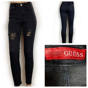 GUESS High Waist Skinny Jeans Black Distressed 25